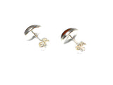 Cognac AMBER Sterling Silver Gemstone Earrings / Studs 925