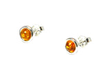 Honey AMBER Sterling Silver Gemstone Earrings / Studs 925 - 7 mm