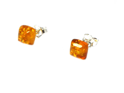 Honey AMBER Sterling Silver Gemstone Earrings / Studs 925