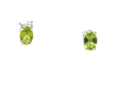 Oval PERIDOT Sterling Silver 925 Gemstone Earrings / STUDS