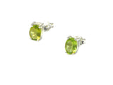 Oval PERIDOT Sterling Silver 925 Gemstone Earrings / STUDS - 5 x 7 mm (PDST0506171)