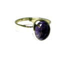 CHAROITE Sterling Silver 925 Oval Gemstone Ring - Size: N (CHR2505171)
