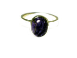 CHAROITE Sterling Silver 925 Oval Gemstone Ring - Size: N