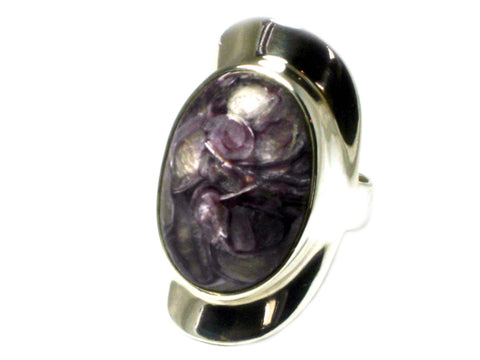 CHAROITE Sterling Silver 925 Oval Gemstone Ring - Size: O