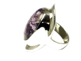 CHAROITE Sterling Silver 925 Oval Gemstone Ring - Size: O (CHR2505172)