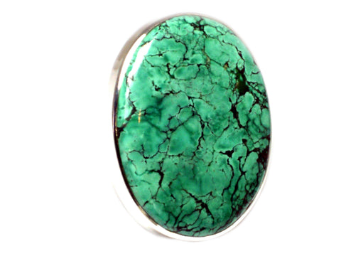 Tibetan TURQUOISE Sterling Silver 925 Oval Gemstone Ring - Size P