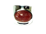 SUNSTONE Sterling Silver 925 Gemstone Ring - Size K