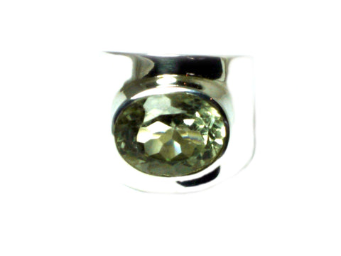 Green AMETHYST Sterling Silver 925 Oval Ring - Size O