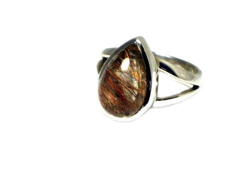Copper Rutile QUARTZ Sterling Silver 925 Gemstone Ring - Size J