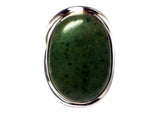 Green AVENTURINE Sterling Silver 925 Oval Gemstone Ring - Size: O - (GAVR2505171)