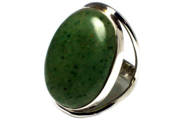 Green AVENTURINE Sterling Silver 925 Oval Gemstone Ring - Size: O