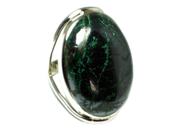 AZURITE / Haematite Sterling Silver Oval Ring - Size N