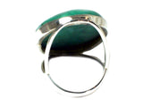 Tibetan TURQUOISE Sterling Silver 925 Oval Gemstone Ring - Size Q - (TTR0806171)