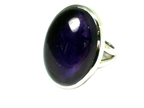AMETHYST Sterling Silver 925 Oval Gemstone Ring (Size K)