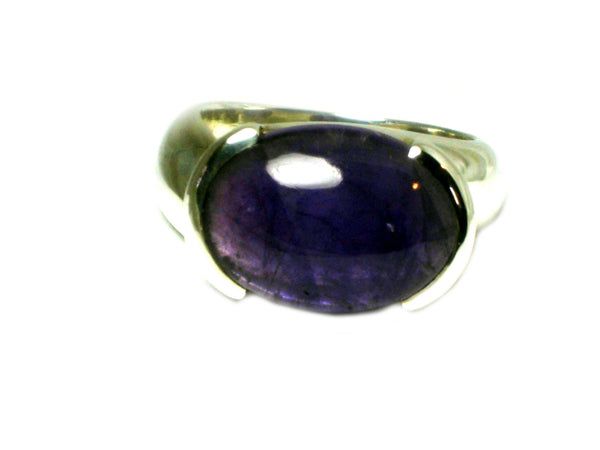 AMETHYST Sterling Silver 925 Oval Gemstone Ring (Size S)