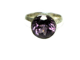 AMETHYST Sterling Silver 925 Round Ring (Size P) - (AMR1306176)