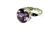 AMETHYST Sterling Silver 925 Round Ring (Size P)