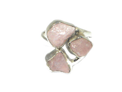 Adjustable ROSE QUARTZ Sterling Silver 925 Gemstone Ring