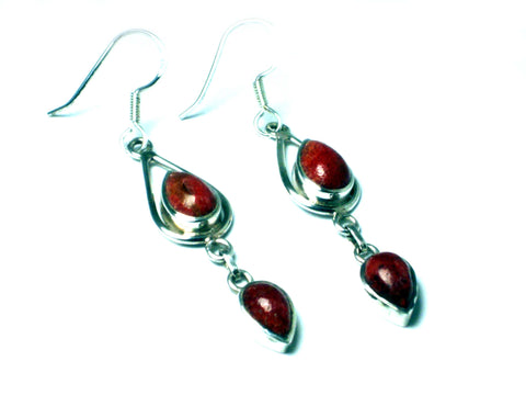 CORAL Sterling Silver Gemstone Earrings 925