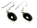GARNET Oval Sterling Silver Gemstone Earrings 925