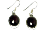 GARNET Oval Sterling Silver Gemstone Earrings - (GER3105171)