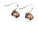 Rose Quartz Sterling Silver 925 Gemstone Round Drop Earrings - ( RQE3105171)