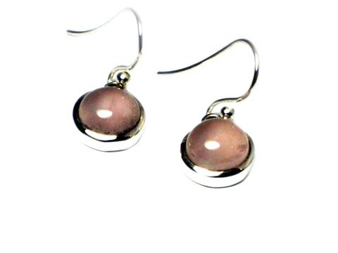 Rose Quartz Sterling Silver 925 Gemstone Round Drop Earrings