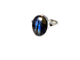 LABRADORITE Sterling Silver 925 Gemstone Ring - Size : J