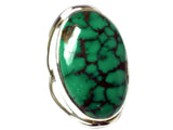 Tibetan TURQUOISE Sterling Silver 925 Oval Gemstone Ring - Size Q - (TTR1807171)