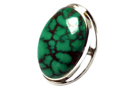 Tibetan TURQUOISE Sterling Silver 925 Oval Gemstone Ring - Size Q