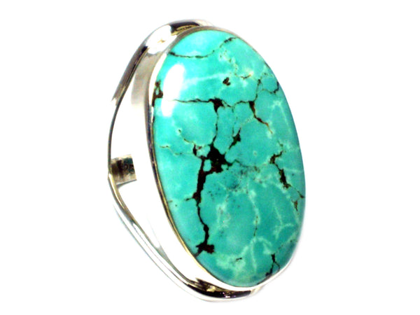 Tibetan TURQUOISE Sterling Silver 925 Oval Gemstone Ring - Size R