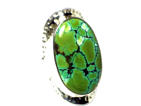 Tibetan TURQUOISE Sterling Silver 925 Oval Gemstone Ring - Size N