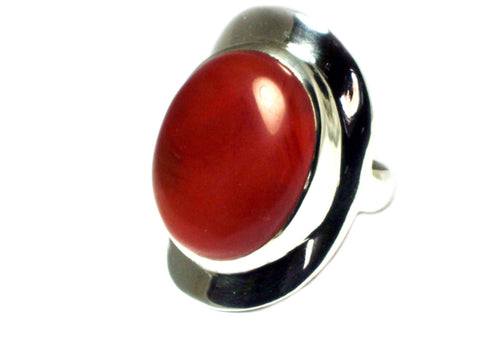 Carnelian Sterling Silver 925 Gemstone Ring - Size S