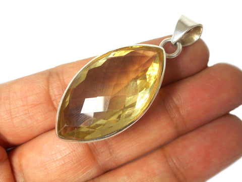 Lemon QUARTZ Sterling Silver 925 Gemstone Pendant