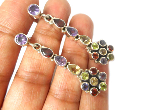 Amethyst, peridot, garnet, citrine  Sterling Silver 925 Gemstone Earrings