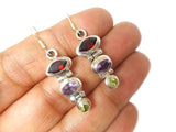 Garnet, Amethyst, peridot Sterling Silver 925 Gemstone Earrings