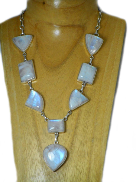 Chunky MOONSTONE Sterling Silver 925 Gemstone Necklace - (MSNL1807171)