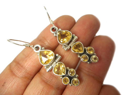 CITRINE Sterling Silver Gemstone Earrings 925