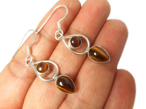 TIGER'S EYE Sterling Silver 925 Gemstone Earrings