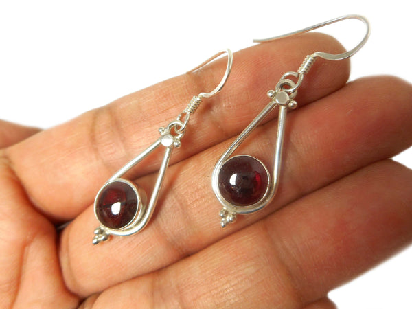 GARNET Round Sterling Silver Gemstone Earrings 925