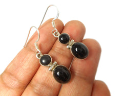 BLACK ONYX Sterling Silver Gemstone Earrings 925
