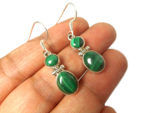 MALACHITE Sterling Silver Gemstone Earrings 925