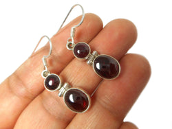 GARNET Sterling Silver Gemstone Earrings 925