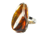 Large Adjustable  AMBER Sterling Silver 925 Gemstone Ring - (ABR0507171)