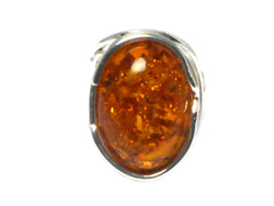 Adjustable Cognac  AMBER Sterling Silver 925 Gemstone Ring