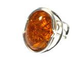 Adjustable Cognac  AMBER Sterling Silver 925 Gemstone Ring - (ABR0507172)