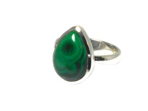 Adjustable MALACHITE Sterling Silver 925 Gemstone Ring