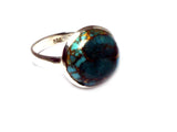 Copper TURQUOISE Sterling Silver 925 Gemstone RING - Size Q - (CTR2810141)
