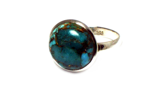 Copper TURQUOISE Sterling Silver 925 Gemstone RING - Size Q