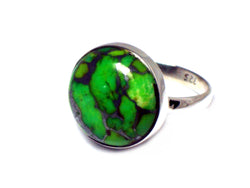 Green TURQUOISE Sterling Silver 925 Gemstone RING - Size N